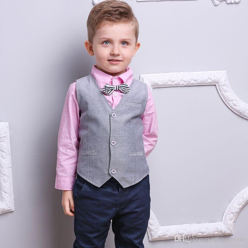 db300584f New Spring Autumn Baby Boys Set Gentleman Kids Shirt + Waistcoat + Pants  3pcs Children Boys Outfits Clothing Suit W093