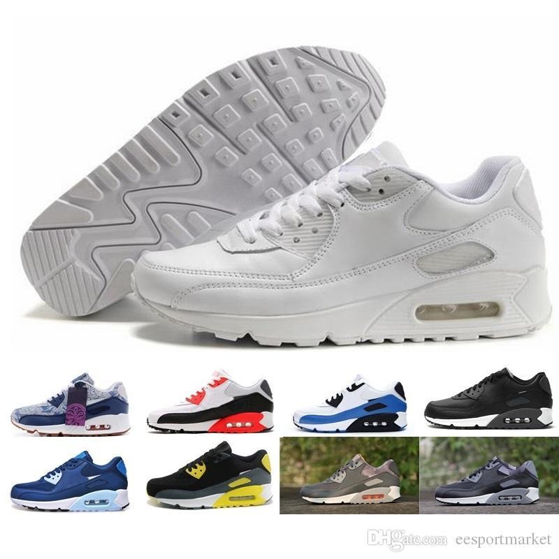 Großhandel Nike Air Max 90 Airmax Turnschuhe Schuhe Klassische 90 Männer  Und Frauen Laufschuhe Schwarz Rot Weiß Sport Trainer Kissen Oberfläche ... d00a5de34a