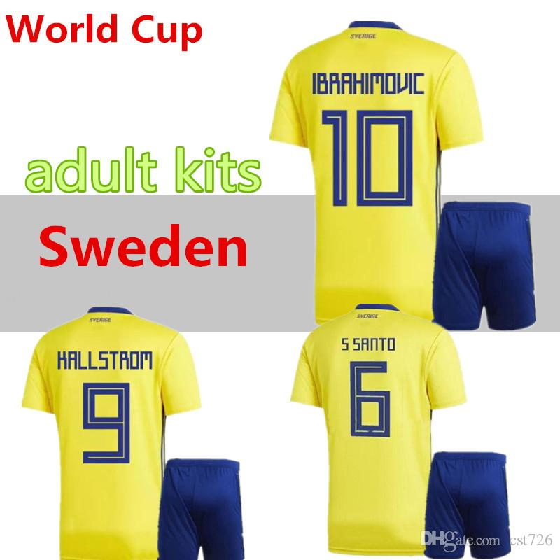 0bd7946f394 2019 A++2018 World Cup Sweden Kits Home Yellow Soccer Jersey 18 19  IBRAHIMOVIC KALLSTROM BERG LARSSON SVENSSON TOIVONEN Uniforms Kit Football  Sh From Cst726 ...