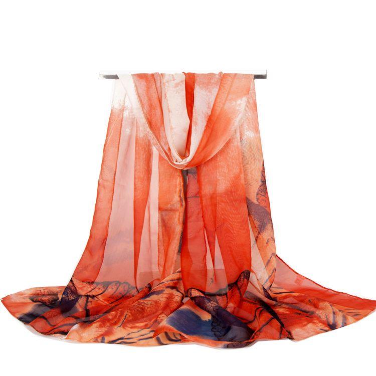Sciarpa delle nuove donne di modo di arrivo grandi foglie stampa chiffon sciarpe di seta sottili scialli lunghi autunno e inverno hijab avvolge la copertura della spiaggia