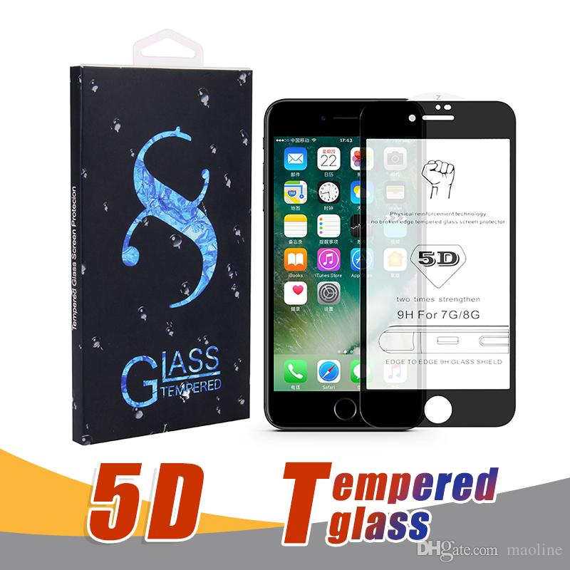 2018 Best Quality 5D 9H Full Screen Tempered Glass Protector Hardness  Anti-Scratch Film Protectors For iPhone X 8 7 6 6S Plus With Package
