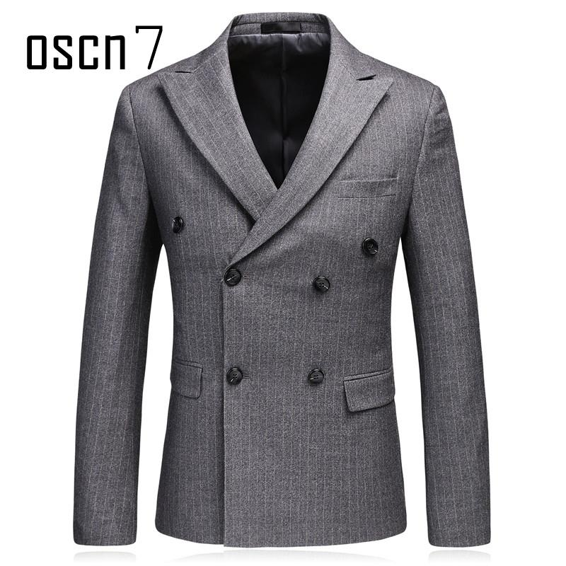 Formale A Acquista Oscn7 Blazer Doppiopetto Slim Righe Giacca Fit htsrQd
