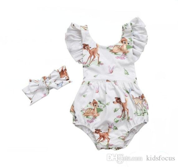 Newborn toddler infant baby girls deer romper bodysuit jumpsuit clothes outfits baby cartoon romper+headband 2pcs/set clothes