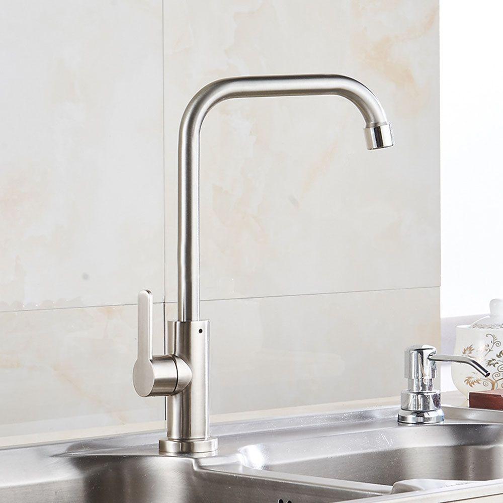 2019 Brushed Nickel Brass Kitchen Faucet Sprayer Swivel Spout Sink