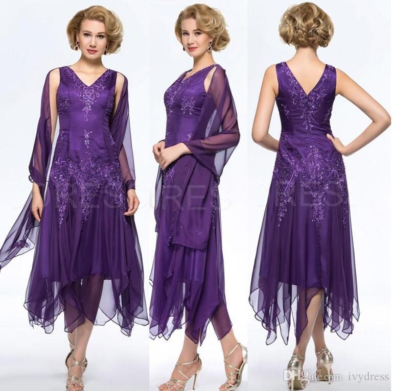 Compre Elegante Gasa Púrpura Té Longitud Madre De La Novia Viste Con ...