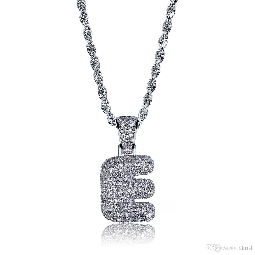 Hip Hop Costom Iced Out Costom Bubble Letters Pendant Necklace Micro Pave Zircon with Rope Chian DIY Jewelry Best Gift Ieda