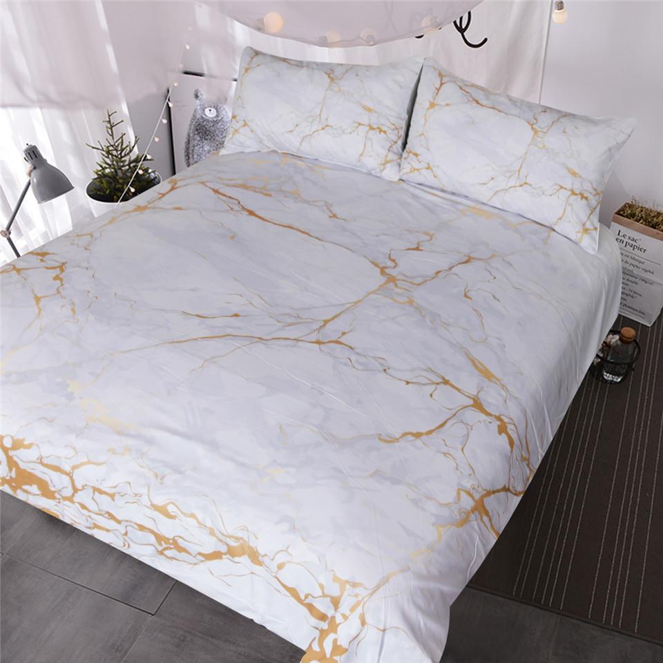 Gold And White Marble Bedding Set Nature Inspired Abstract