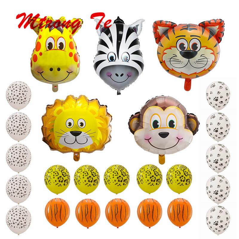 Theme Jungle Safari Latex Balls Animals Head Foil Balloons Baby