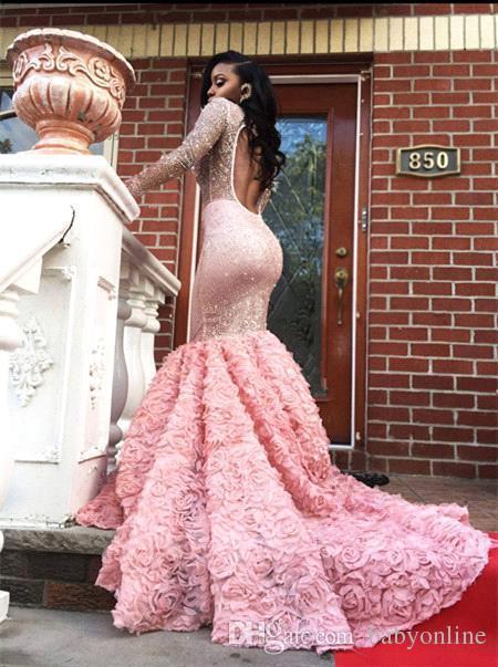 Luxo Africano Árabe Sereia Mangas Compridas Rosa Vestidos de Baile para Meninas Negras Sexy Sheer Beadings Prom Evening Vestidos Custom Made