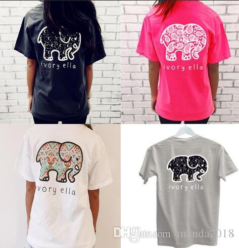 7b704a5c22b Ivor Elle Women Girls T Shirt Blended Cotton Elephant Print Woman Shirts  Trend Brand Woman Tees Gray Pink White Black Tops W200 Silly Tee Shirts Tee  Shirt ...