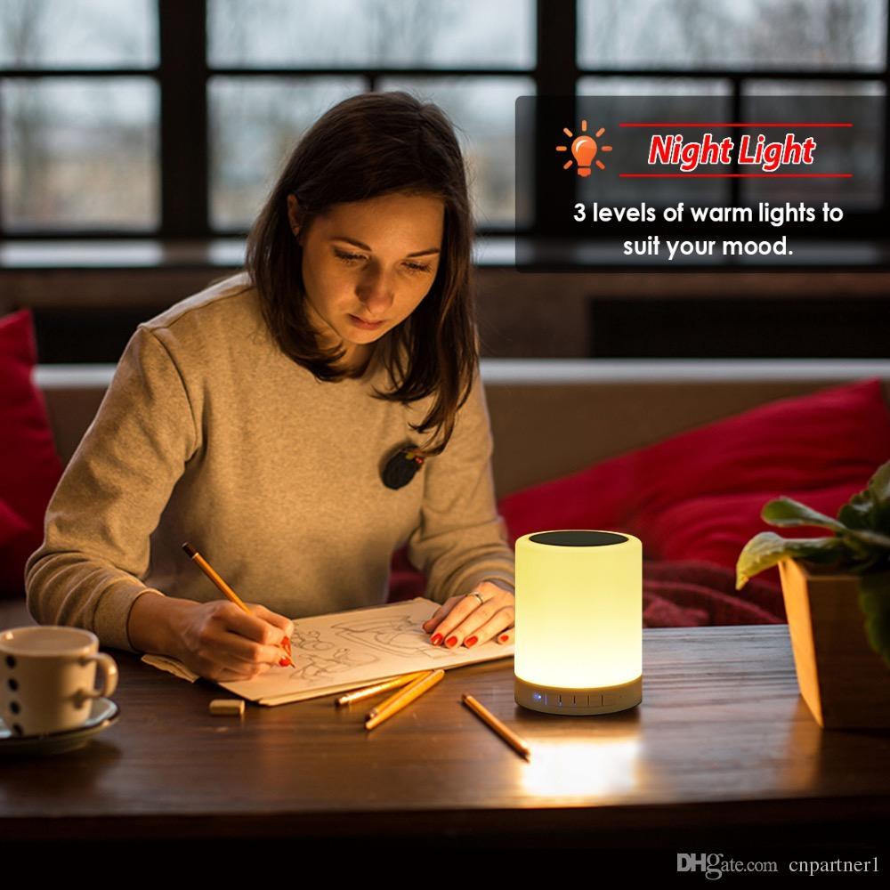 Led-nachtlicht Drahtlose Bluetooth Musik Lautsprecher Smart Touch Control Farbe LED lampe Nachttischlampe Freisprecheinrichtung Player USB TF Karte