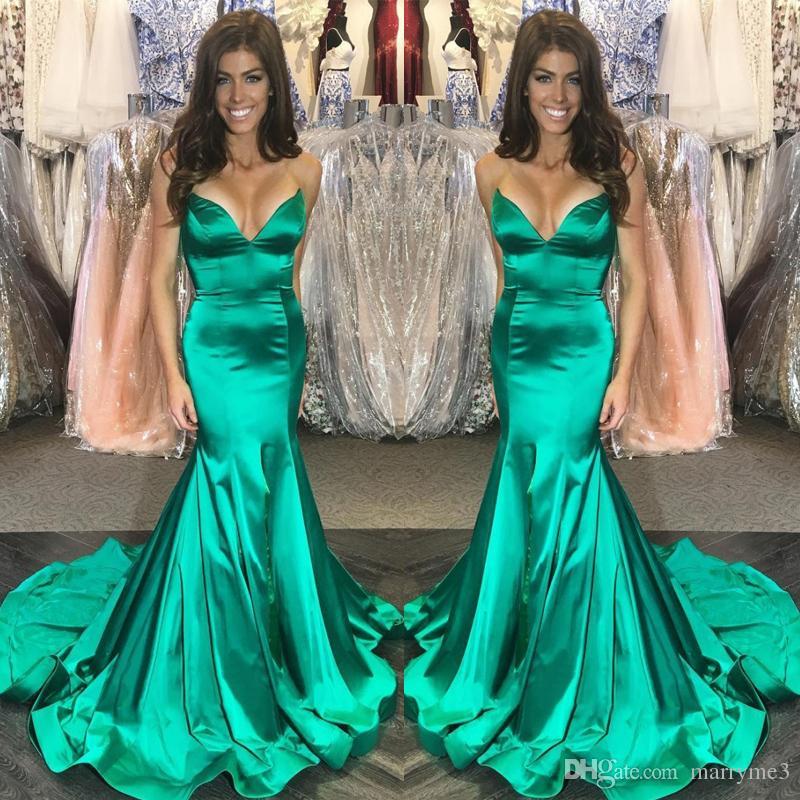 b04fe19adb8 2018 Emerald Green Evening Desses Deep V Neck Mermaid Prom Gowns Mermaid  Sexy Sweep Train Formal Evening Dress ME066 Evening Dress Designers Evening  Dress ...