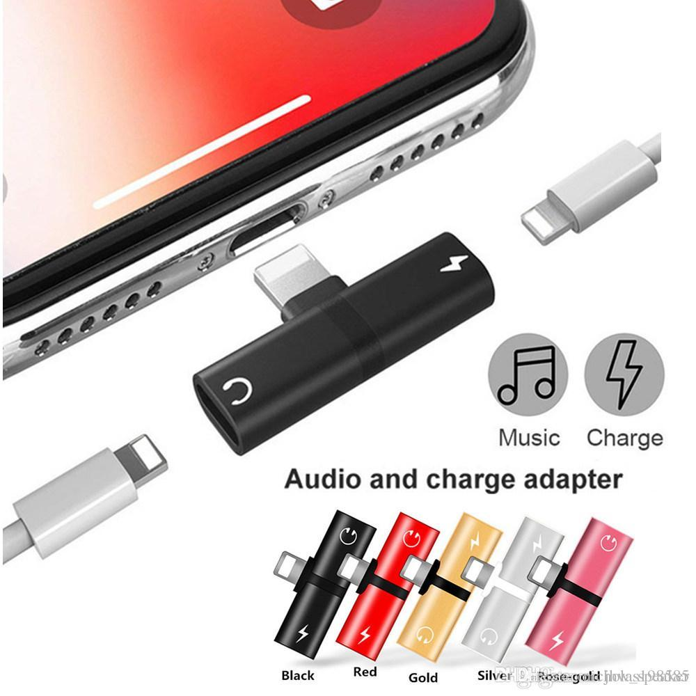 sports shoes 899c6 8ff4a Double Jack Charging Audio Adapter for iPhone XS XR X 8 Plus 7 Support IOS  11 Music or Call For Dual Lightnin- Headphone Chargeer Adapter