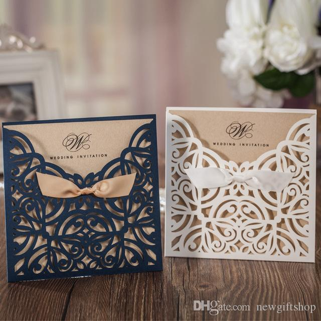 Navy Blue Personalized Printing Wedding Invitations With Envelope