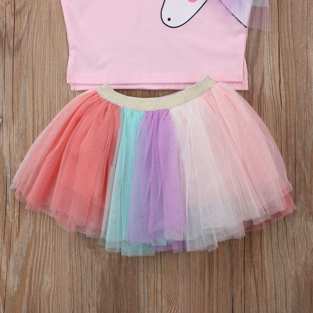 Moda Roupas Infantis Crianças Baby Girl Roupas Unicórnio Top T-shirt de Renda Tutu Saia Outfits Set Verão