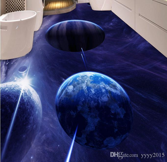 Самоклеящиеся напольные обои фэнтези Звезда санузел ванная комната спальня 3D пол ПВХ виниловые полы ванная комната