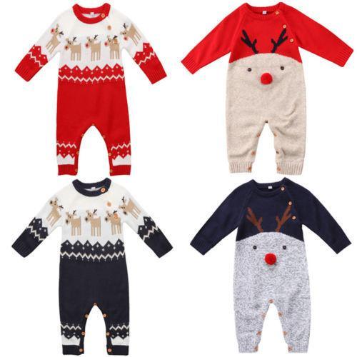 5c820de81 2019 Christmas Baby Romper Cute Newborn Baby Boy Girl Deer Wool Knitting  Romper Long Sleeve Jumpsuit Outfits Y18102907 From Gou07, $25.13 |  DHgate.Com