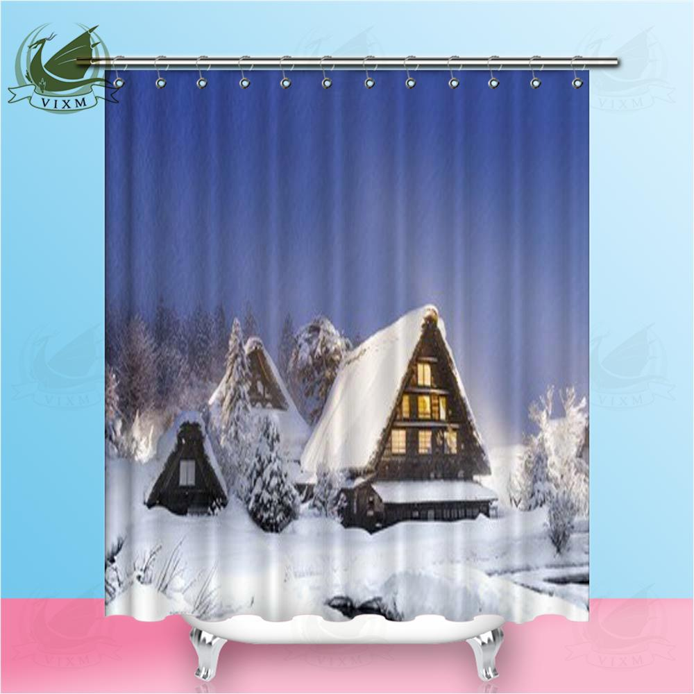 2018 Vixm World Heritage Shirakawago In Winter Japan Shower Curtains Polyester Fabric For Home Decor From Bestory 1665
