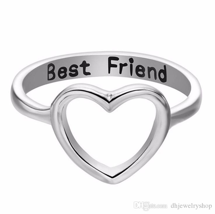 Silver& Gold Unique Best Friend Heart Hollow Ring Elegant Love Friendship Rings Women Party Jewelry Accessories Gifts Wedding Bands