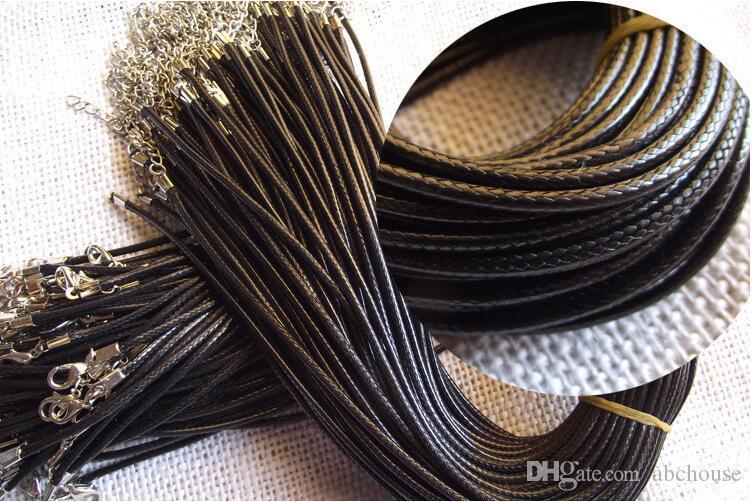 Catena di serpente in pelle nera con catena di corda 45cm Corda di corda con catena in metallo con chiusura a moschettone Componente di gioielli moda fai-da-te