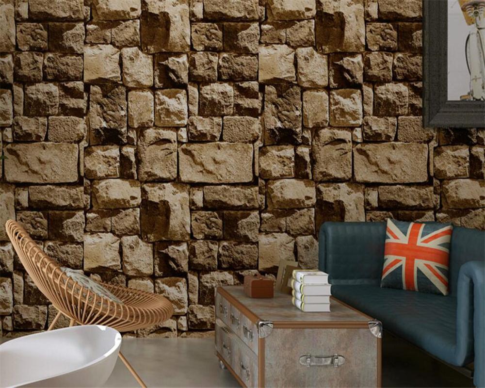 beibehang culture stone wallpaper 3d stereo retro nostalgia brick