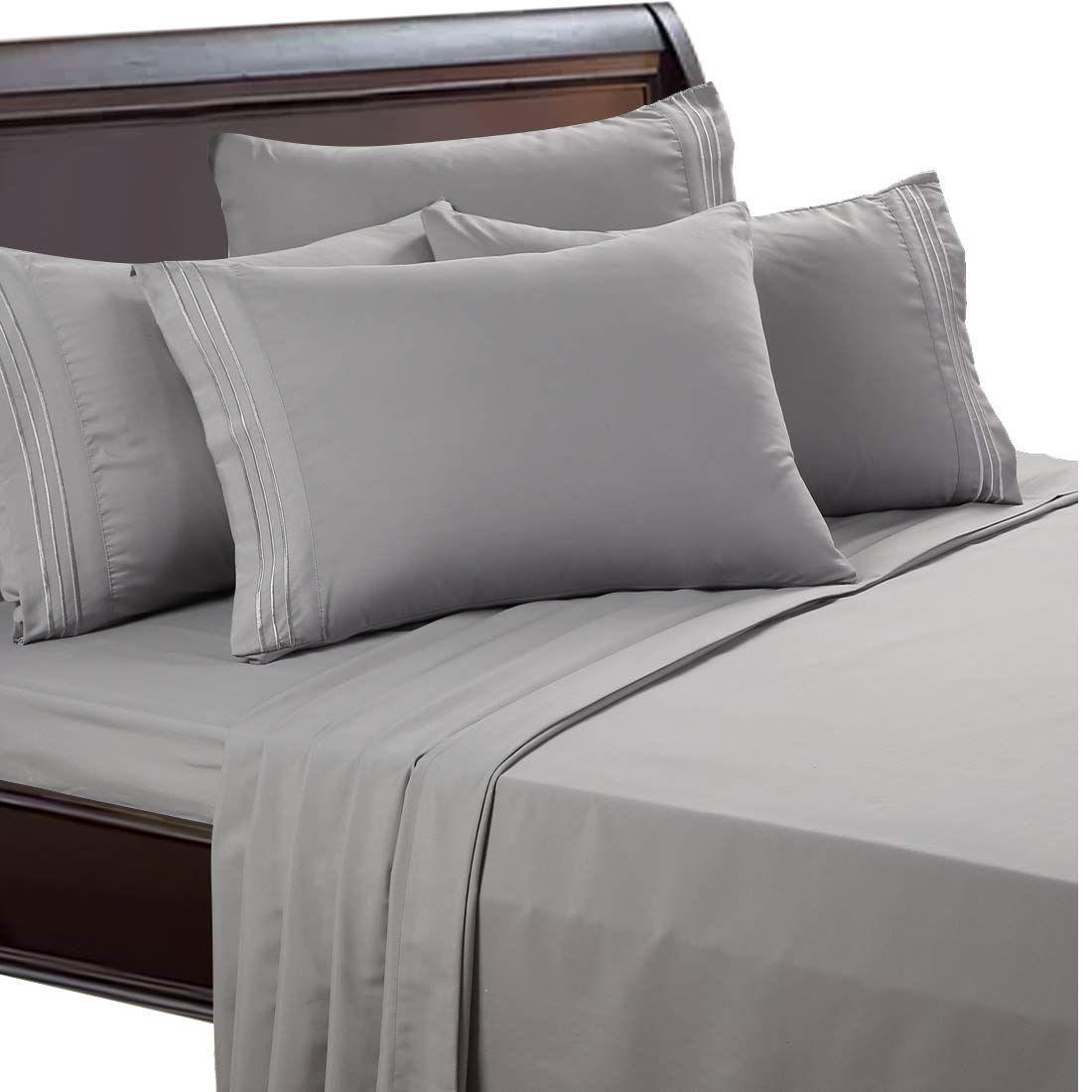 2019 1800 Thread Count Microfiber Bed Sheet Duvet Cover Set Wrinkle