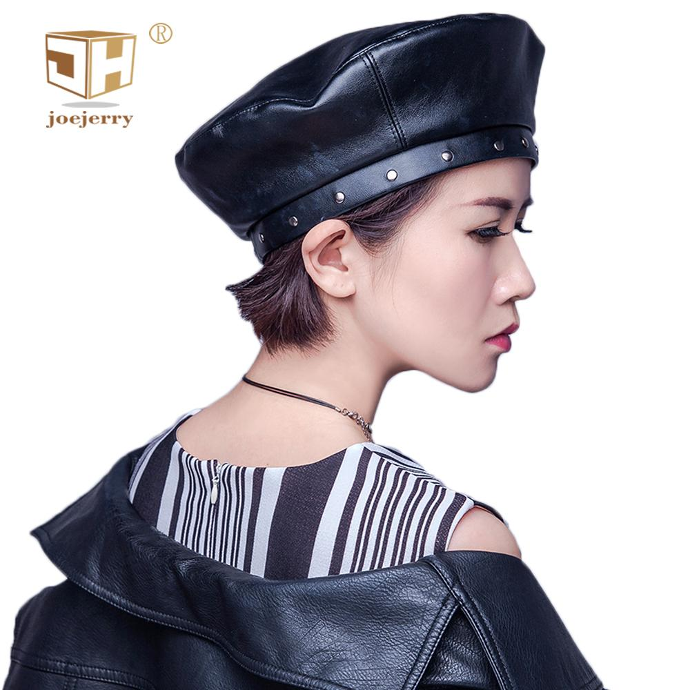 854e443445b7d 2019 JOEJERRY Black Pu Leather Beret French Hat Flat Cap Female Boina  Feminina Harajuku Korean Style Berets For Women Girls Custom From Naixing