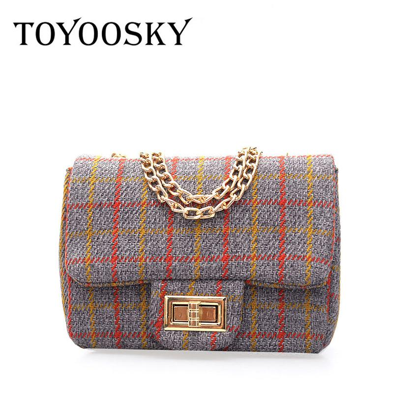 4cbd0f92fde8 TOYOOSKY 2018 Women Wool Trendy Plaid Bag Women Brand Designer Flap Chains  Vintage Shoulder Bag Female Casual Messenger Bags Luxury Bags Handbags  Wholesale ...