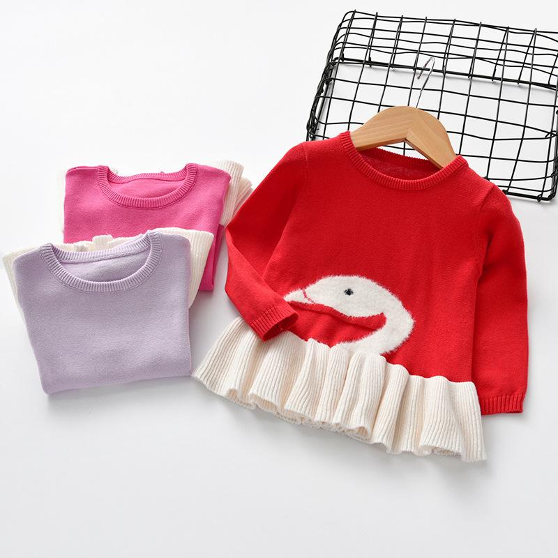 c9f98cd95 2018 Autumn winter Sweater Baby Girl Cartoon Swan Knitted Baby Clothes  Casual Sweater dress Kids-pullover