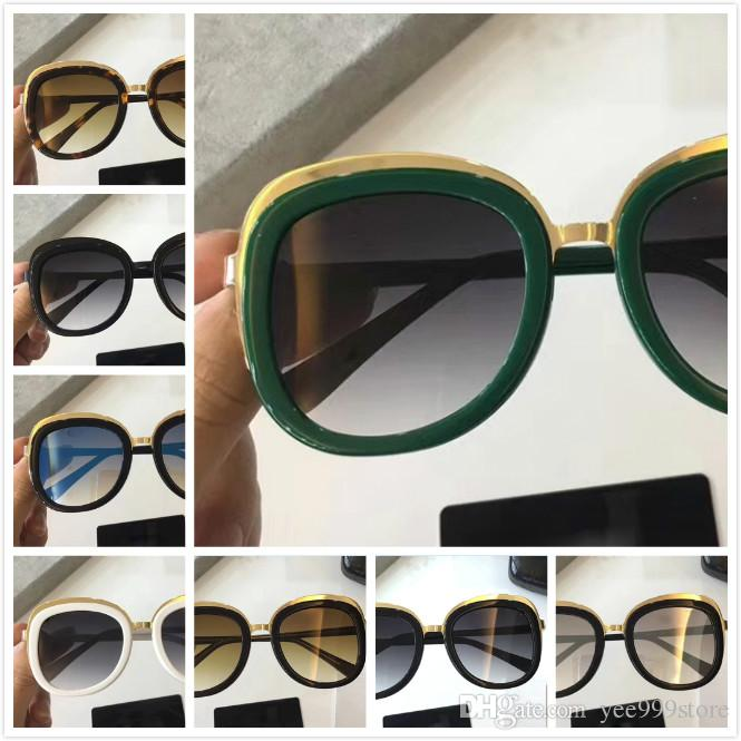 29fc5da28a AAA New Hot Sale Luxury Fashion Brand Italy Designer Gold Glitter Frame  Gradient Lens Round Oversized Sunglasses For Women Men Locs Sunglasses  Suncloud ...