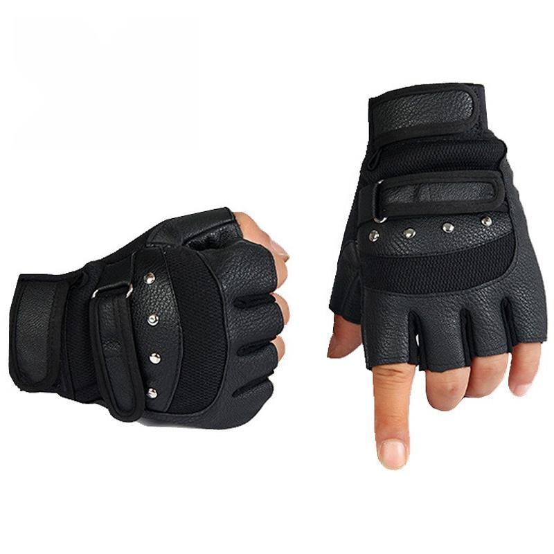 Compre Novos 2018 Homens Luvas Sem Dedos Wrist Half Finger Luva Unisex  Adulto Luvas Sem Dedos Luvas De Couro PU Masculino De Strips cbd400c15d2