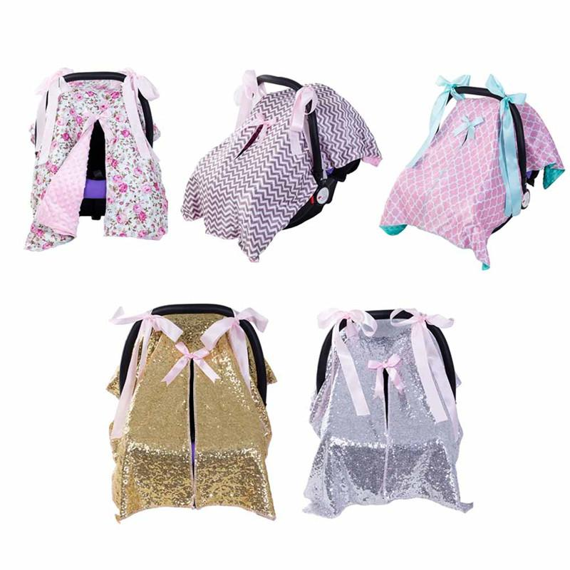 2018 Baby Car Seat Blanket Cover Fashion Bow Newborn Girls Soft Safety Canopy Nursing Multi Use New From Jasmineer