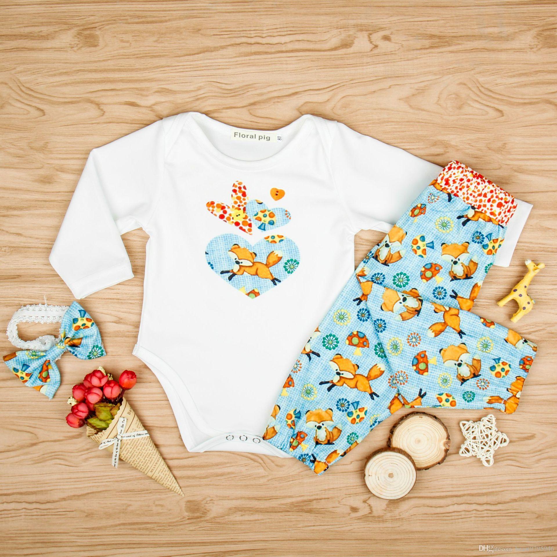 2018 Summer Baby Clothing Sets Baby Girl Fox Mashroom Rompers Pants