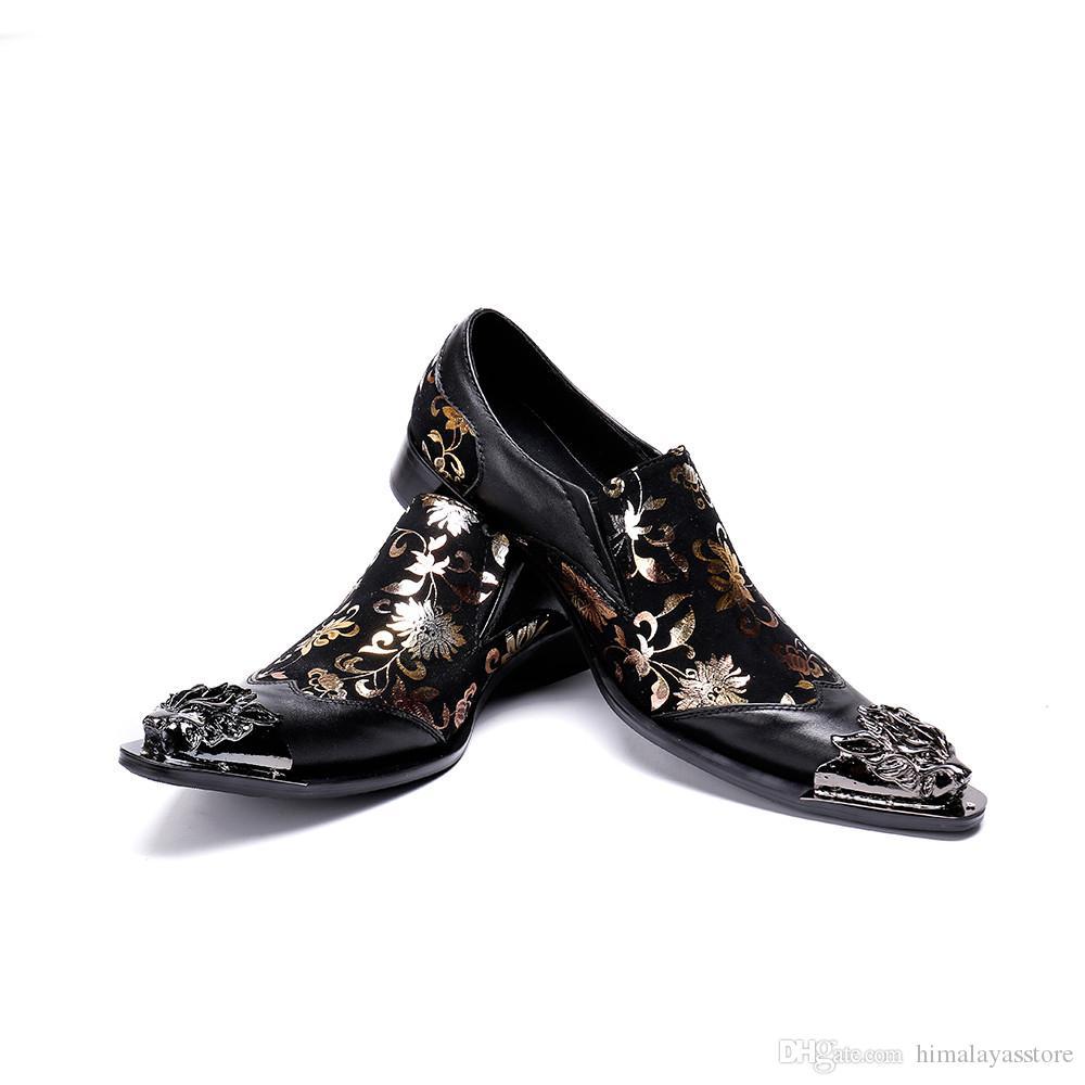 320c3a82df1 Compre Modelo Italiano De Zapatos Para Hombre Moda De Cuero Negro Zapatos  De Negocios Para Hombres Punta Puntiaguda De Punta De Metal De Dragón A   85.93 Del ...