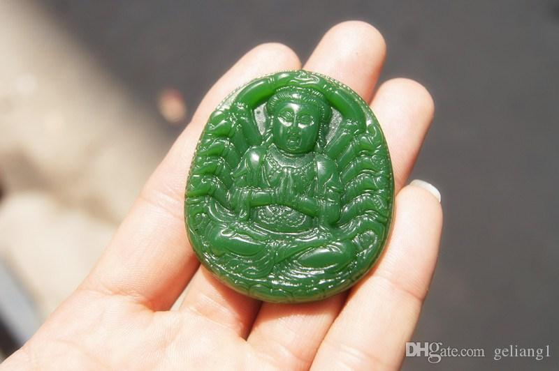 Free delivery -- beautiful outer Mongolia jade hand-carved thousand-hand guanyin danfeng sun talisman. The oval necklace pendant.