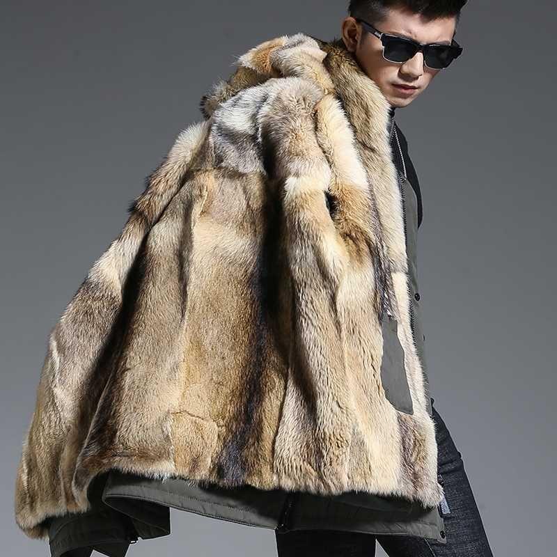 Wolf Fur Coat >> 2019 Wolf Fur Coat Men Winter Warm Fur Coat Hooded Long Style Jacket