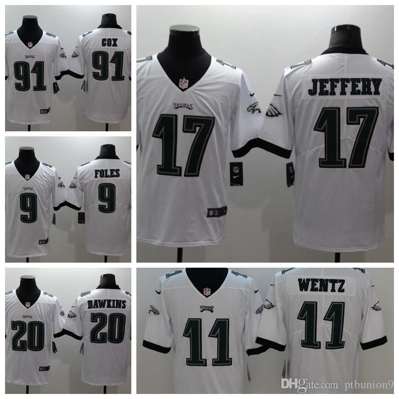 sports shoes 3c3ea 5c6c2 2018 Mens Philadelphia #20 Brian Dawkins 17 Nelson Agholor 11 Carson Wentz  91 Fletcher Cox White Short sleeve Limited Eagles Jerseys
