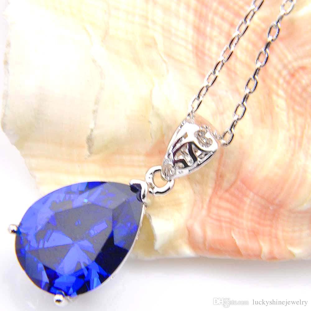 10 Unids Luckyshine Excelente Brillo Gota de Agua Azul Suizo Topacio Cubic Zirconia Piedra Preciosa Colgantes de Plata Collares para Fiesta de Boda
