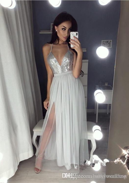 420c0bfeaeb Sparky Sequins Chiffon Evening Dresses Gray Formal Dresses Evening Plus Size  Elegant V Neck Open Back Prom Dresses With Slit Robes De Soirée Long Evening  ...
