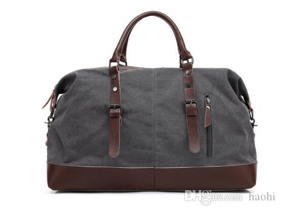 Factory direct fashion high-grade leather canvas collocation capacity of men and women brand travel bag Leisure Canvas Bag Laptop bag