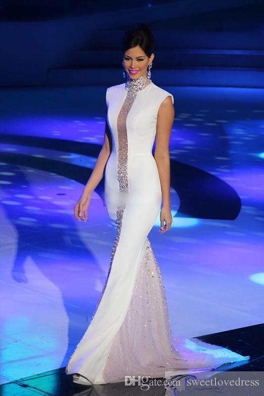 2018 weiß High Hals Miss Universe Festant Abendkleider Bling Kristalle Promi Kleider Sleeveless Tüll Mermaid Günstige formale Prom Dresse