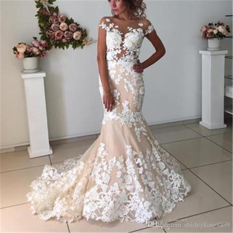 Gorgeous Cap Sleeve Mermaid Wedding Dresses Sheer Neck Lace Appliques Illusion Bodices Bridal Gowns Wedding Gowns Vestios De Novia