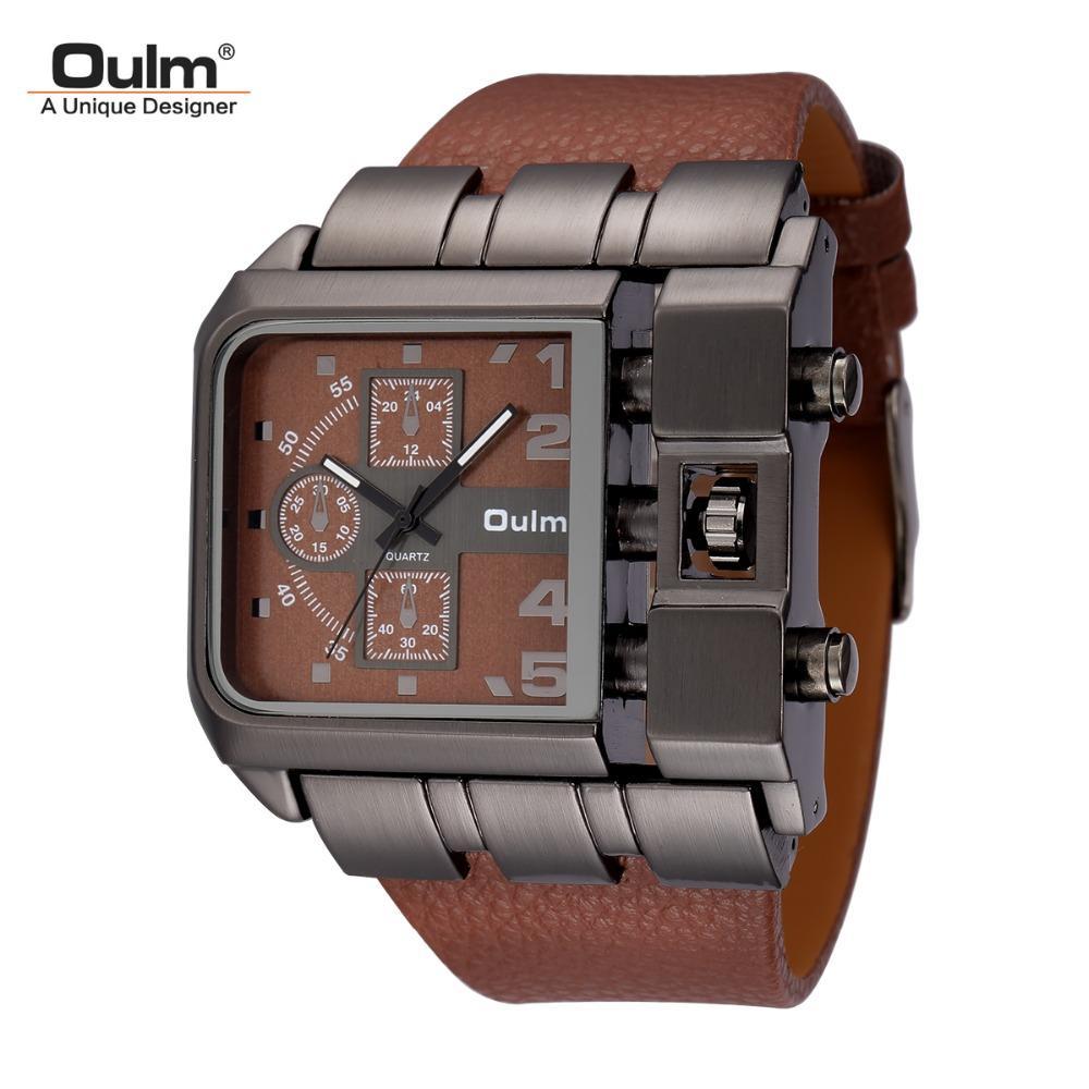 6f2bd545d26 Compre Oulm Marca Original Design Original Quadrado Homens Relógio De Pulso  Grande Grande Mostrador De Couro Casual Strap Quartz Watch Masculino Esporte  ...