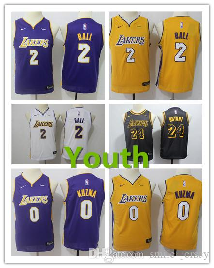 c485de2af 2018 New Youth 2 Lonzo Ball Los Angeles Jersey Lakers Kids Basketball Jersey  Authentic Stitched Lakers 0 Kyle Kuzma Boys Basketball Jerseys From ...