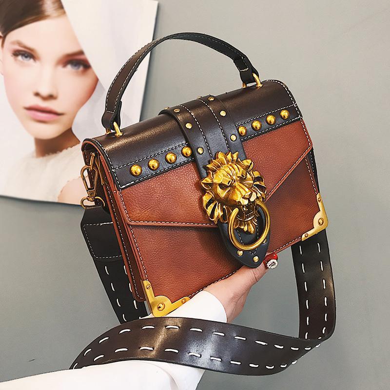 b65873c74c2a Luxury Famous Brand Shoulder Bags Female Lion Head Lock Handbag Women PU Leather  Messenger Crossbody Bags Fashion Party Clutch Y18102004 Online with ...