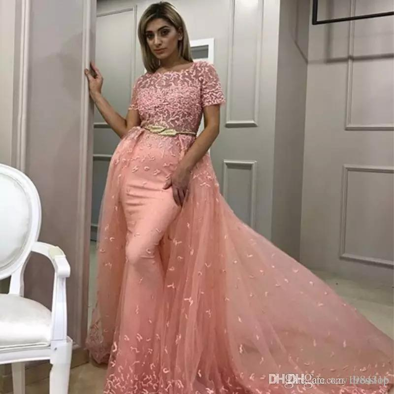 c7c4cf1c36a0 Ravishing Sexy Mermaid Prom Dress With Overskirt Sheer Neck Short Sleeve  Beaded Lace Appliques Party Gown Glamorous Tulle Evening Dresses Punk Prom  Dresses ...