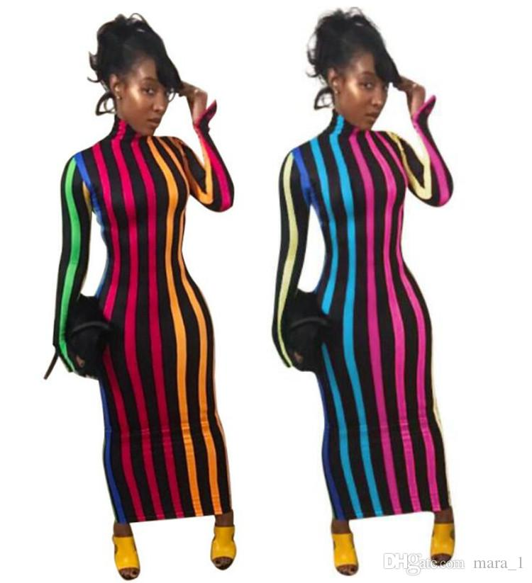 99fe6a6dc9 Women Striped Maxi Dress Long Sleeve Turtle Neck Skirt Night Club Sexy Bodycon  Long Dresses Women Fall Clothes Ankle Length Skirt Long Sundresses On Sale  ...