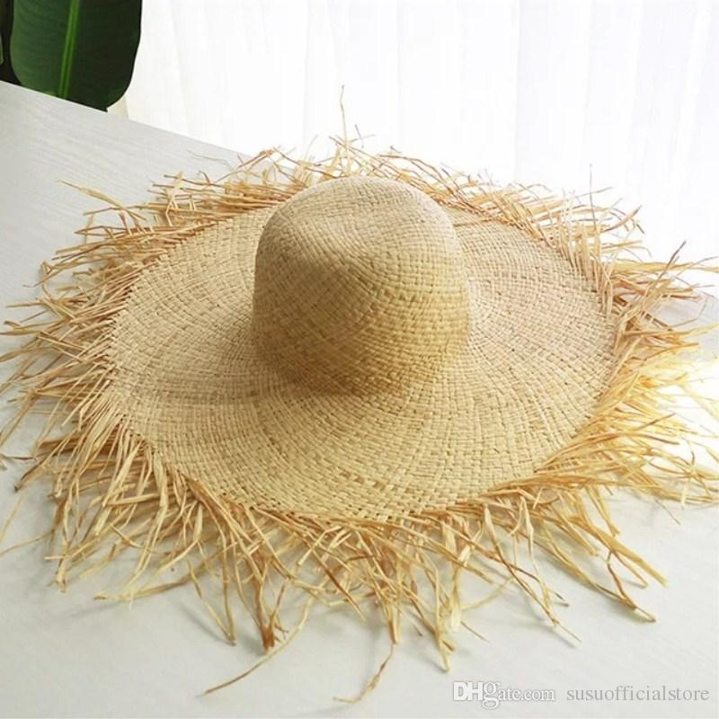 6970c801450 Summer Big Straw Hat Natural Large Wide Brim Raffia Hats Handmade Woven  Circle Fringe Beach Sun Cap Mens Hat Sunhat From Susuofficialstore