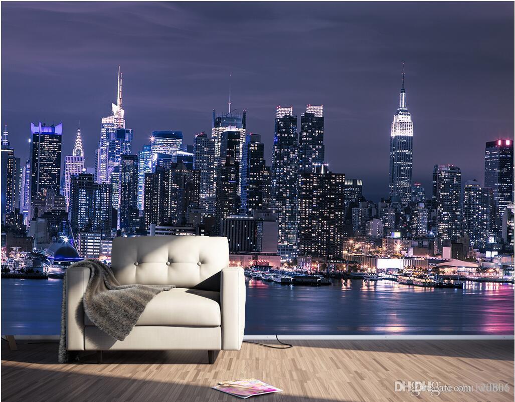 3d carta da parati foto personalizzata Moderna città di New York a notte  sfondo muro soggiorno ufficio Home decor 3d murales wallpaper per pareti 3 d