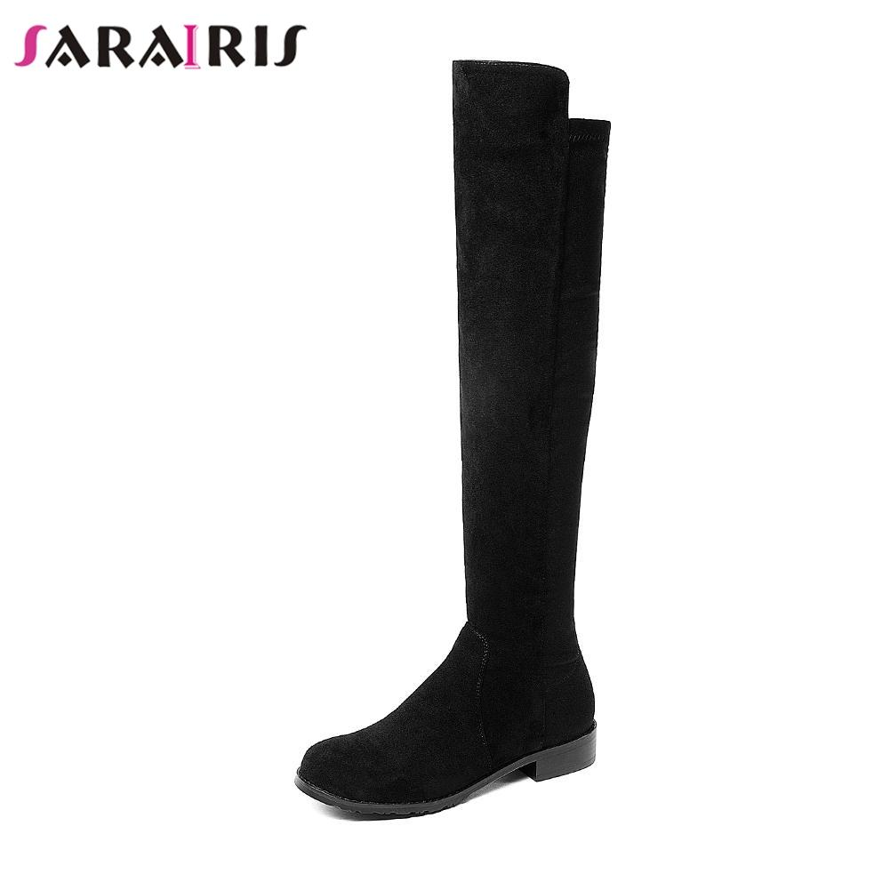 08b8dd80907 SARAIRIS Women Knee High Boots Warm Winter Fur Shoes Woman Low Heel  Footwear Faux Suede Knight Riding Boots Large Size 34 43 Wedge Booties Boots  Sale From ...